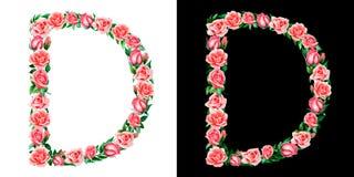 Waterverf bloemenalfabet van rozen, Monogram, titelbrief D die op zwart-witte achtergrond wordt geïsoleerd royalty-vrije stock afbeelding