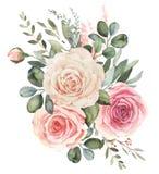 Waterverf bloemenboeket met rozen en eucalyptus stock illustratie