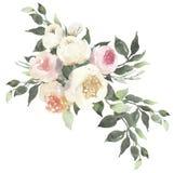 Waterverf bloemenboeket met rozen en eucalyptus royalty-vrije illustratie