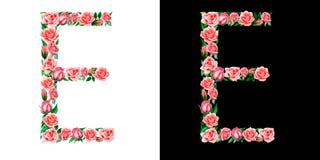 Waterverf bloemendiealfabet van rozen, Monogram, titelbrief E op zwart-witte achtergrond wordt geïsoleerd stock afbeelding