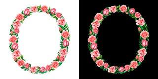 Waterverf bloemendiealfabet van rozen, Monogram, titelbrief O op zwart-witte achtergrond wordt geïsoleerd royalty-vrije stock foto's