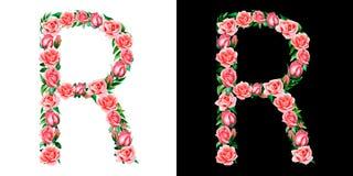 Waterverf bloemendiealfabet van rozen, Monogram, titelbrief R op zwart-witte achtergrond wordt geïsoleerd royalty-vrije stock fotografie