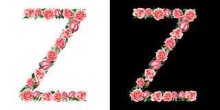 Waterverf bloemendiealfabet van rozen, Monogram, titelbrief Z op zwart-witte achtergrond wordt ge?soleerd vector illustratie