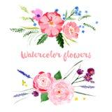Waterverf bloemengrenzen Royalty-vrije Stock Afbeelding