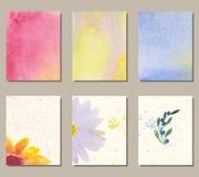 Waterverf bloemenkaart Royalty-vrije Stock Afbeeldingen
