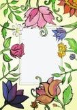 Waterverf bloemenkaart Boeket van roze, kamille Stock Afbeelding