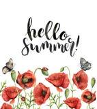 Waterverf bloemenkaart met Hello-de zomer het van letters voorzien Geschilderde hand vector illustratie