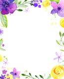 Waterverf bloemenkader met exemplaarruimte De hand schilderde losse bloemen Achtergrond voor huwelijk en verjaardagskaarten Stock Fotografie