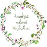 Waterverf bloemenkader voor het ontwerp van de huwelijksuitnodiging Royalty-vrije Stock Afbeelding