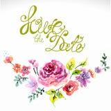 Waterverf bloemenkader voor huwelijksuitnodiging Stock Afbeeldingen