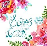 Waterverf bloemenkader voor huwelijksuitnodiging Stock Afbeelding