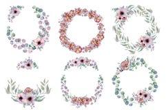 Waterverf bloemenkronen met lint voor uw tekst Bloemen banner De uitnodiging van het huwelijk stock foto