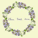 Waterverf bloemenkroon, hand getrokken de klemart. van de bloemvlam Royalty-vrije Stock Foto