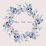 Waterverf bloemenkroon, hand getrokken de klemart. van de bloemvlam Stock Afbeelding