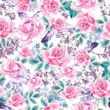 Waterverf bloemenpatroon Naadloos patroon met purper en roze boeket op witte achtergrond Weidebloemen, rozen Royalty-vrije Stock Foto