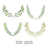 Waterverf bloemenreeks kronen vector illustratie