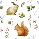 Waterverf bos dierlijk vectorpatroon stock illustratie
