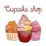 Waterverf cupcakes Stock Foto's