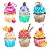 Waterverf cupcakes inzameling De waterverf cupcakes plaatste Stock Afbeelding