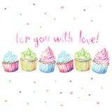 Waterverf cupcakes met typografie Royalty-vrije Stock Foto's