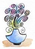Waterverf die Fairytale-bloem schilderen Stock Afbeeldingen