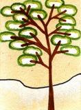 Waterverf die Fairytale-boom met sneeuw schilderen Royalty-vrije Stock Afbeeldingen