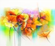 Waterverf die gele, roze en rode gerbera, madeliefje schilderen vector illustratie