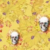 Waterverf die naadloze menselijke schedel als achtergrond voor Halloween met de herfst gele bladeren en bloemen in de oogkassen v Royalty-vrije Stock Foto