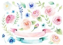 Waterverf die st van bloemen met bladerenbehang schilderen Getrokken hand Royalty-vrije Stock Afbeeldingen