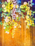 Waterverf die witte bloemen en zachte groene bladeren schilderen Royalty-vrije Stock Foto's