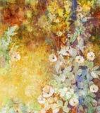 Waterverf die witte bloemen en zachte groene bladeren schilderen royalty-vrije illustratie
