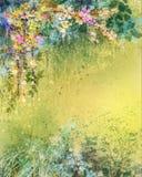 Waterverf die witte, gele, rode Klimopbloemen en zachte bladeren schilderen royalty-vrije illustratie