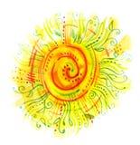 Waterverf door de zon wordt geschilderd die vector illustratie