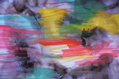 Waterverf en gebrand document in rode groene tinten Stock Afbeelding