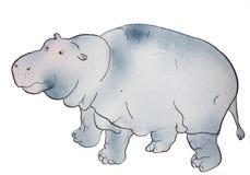 Waterverf en inkthand getrokken hippo Stock Fotografie