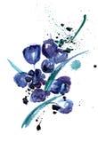 Waterverf en inktillustratie met abstracte blauwe bloemen Royalty-vrije Stock Afbeelding