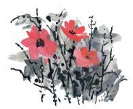Waterverf en inktillustratie van tot bloei komende bloemen royalty-vrije illustratie