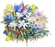 Waterverf en inktillustratie van tot bloei komende bloemen stock illustratie