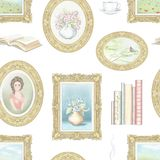 Waterverf en loodpotlood grafisch naadloos patroon met uitstekende dingen royalty-vrije illustratie