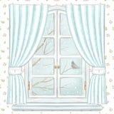 Waterverf en loodpotloodvenster met blauwe gordijnen en de winterlandschap op bloemenbehang stock illustratie