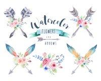 Waterverf etnische reeks pijlen en bloemen in inheems Amerikaans s royalty-vrije illustratie