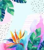 Waterverf exotische bloemen, bladeren, grunge texturen, krabbels royalty-vrije illustratie