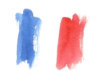 Waterverf Franse vlag, abstracte banner van Frankrijk Royalty-vrije Stock Foto's