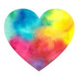 Waterverf geschilderd hart op een witte achtergrond Royalty-vrije Stock Afbeeldingen