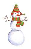 Waterverf geschilderde sneeuwman in rood-groene sjaal en hoed Royalty-vrije Stock Afbeelding
