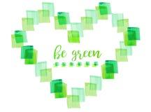 Waterverf groen die hart van vierkanten op witte achtergrond wordt gemaakt Eco vriendschappelijke illustratie Stock Foto