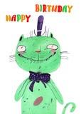 Waterverf groene kat Royalty-vrije Stock Foto's
