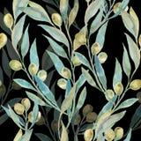 Waterverf groene olijven Olive Branches Modieus en kwaliteitspatroon Stock Fotografie