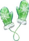 Waterverf groene vuisthandschoenen Vector illustratie Stock Fotografie