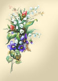 Waterverf hand-drawn bloemen (kaartmalplaatje) Stock Foto